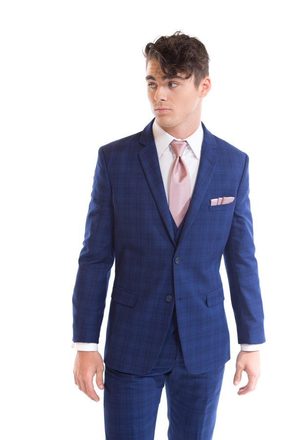 Cobalt Blue Plaid Suit image